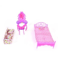 Fashion Cute Barbie Princess Girl Dolls House Bedroom Furniture Toy Set Dresser+Sofa+Bed - intl