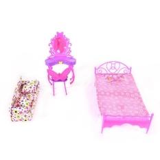 Fashion Cute Barbie Princess Girl Dolls House Bedroom Furniture Toy Set Dresser+Sofa+Bed - intl