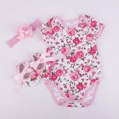 【0-6 Months】】fashion Floral Baby Sleeveless Rompers Rose Headband Jumpsuit With Shoes- Rose By Eleganthome.