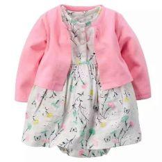 Fashion Bayi Gaun Bermotif Bunga-bunga Yang Cantik dengan Baju Kardigan-Dark