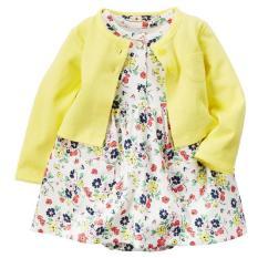 Harga Fashion Bayi Setelan Gaun Bermotif Bunga Bunga Yang Cantik With Kardigan Kuning Internasional Merk Oem