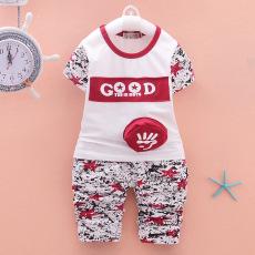 Fashion Murni Cotton Baby Boys Lengan Pendek T Shirts Set Anak Pakaian-Intl
