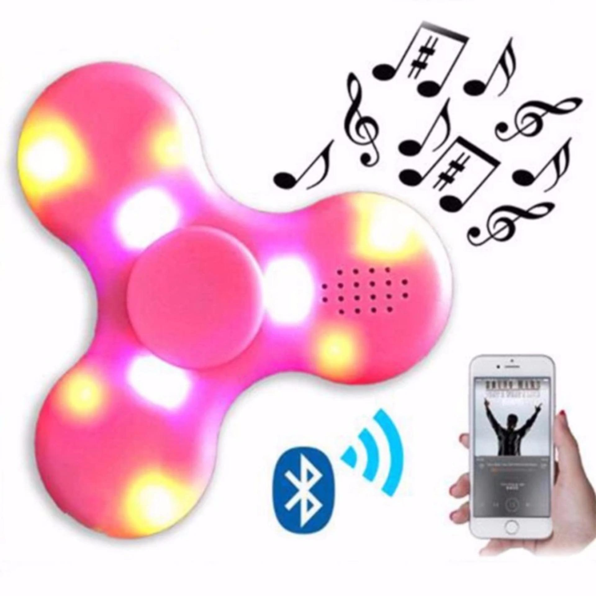 Fidget Spinner Built in Speaker Bluetooth LED Light Colors Disco ON OFF Hand Finger Toys for