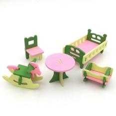 Empat Season Besar Penjualan Creative Simulasi Kayu Furniture 3D Assembly Puzzle Set Bahan Kayu: kamar Bayi-Internasional
