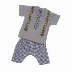 Jual Freeshop Baju Anak Setelan Dasi Suspender Sablon Set F1039 1 Set Import