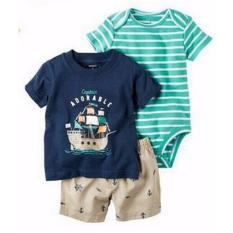 Toko Freeshop Comfort Threepiece Captain Adorable Romper Body Suit Jumpsuit For Baby Boys Toddler Kids F1039D Di Dki Jakarta
