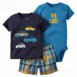 Jual Freeshop Comfort Threepiece Cars Navy Romper Body Suit Jumpsuit For Baby Boys Toddler Kids F1039J Freeshop Original