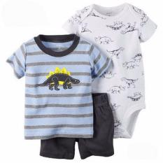 Jual Beli Freeshop Comfort Threepiece Dino Stripe Romper Body Suit Jumpsuit For Baby Boys Toddler Kids F1039H