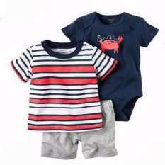Jual Freeshop Comfort Threepiece Sailor Crab Romper Body Suit Jumpsuit For Baby Boys Toddler Kids F1039A Dki Jakarta Murah