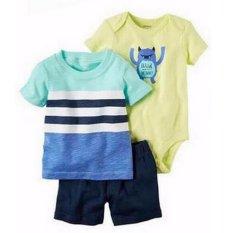 Harga Freeshop Comfort Threepiece Wild Blue Romper Body Suit Jumpsuit For Baby Boys Toddler Kids F1039C Asli