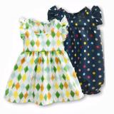 Spesifikasi Freeshop Comfort Twopiece Diamond Polka Romper Body Suit Jumpsuit For Baby Girls Toddler Kids F1035 Beserta Harganya