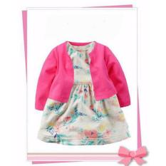Harga Freeshop Fashion Lovely Baby Floral Dress Suit With Cardigan Leaves Pink F1036 Freeshop Baru