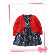 Jual Freeshop Fashion Lovely Baby Floral Dress Suit With Cardigan Red F1036 Ori
