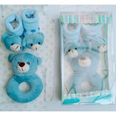 Freeshop Gelang Rattle & Kaos Kaki Bear 2in1 Mainan Edukasi Bayi - Biru