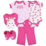 Spesifikasi Freeshop Jumper Baby Set 5 Pcs Pakaian Bayi Perempuan Girrafe F993 Pink Yang Bagus