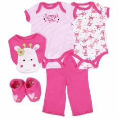 Jual Beli Online Freeshop Jumper Baby Set 5 Pcs Pakaian Bayi Perempuan Girrafe F993 Pink