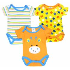 Freeshop Kids Infant Baby Cotton Sleeveless Suit Romper Jumper Jumpsuit 3 Pcs Cow Blue Indonesia Diskon