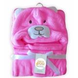 Harga Freeshop Selimut Topi Double Fleece Selimut Hoodie Bulu Bayi 3D Hoodie Bear Pink Blanket Tudung S254 Online Indonesia