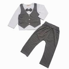 Harga Freeshop Set 2 In 1 Tuxedo Baby Boy Kemeja Square Tie Kupu Grey F961 Termurah