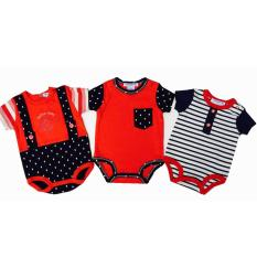 Beli Freeshop Style Round Collar Boy Baby Jumpers Rompers 3 Pcs With Cartoon Sailor Import Thailand Red Freeshop Murah