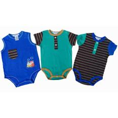 Jual Freeshop Style Round Collar Boy Baby Jumpers Rompers 3 Pcs With Cartoon Train Stripe Import Thailand Blue Grosir