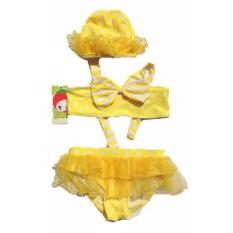Freeshop Swim Wear Glamour Kids Baby Girl Swimsuit Bikini Suit Bathing Costume Yellow - F814