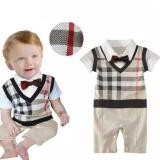 Jual Freeshop Tuxedo Jumper Pakaian Bayi Laki Laki Overall Dasi Kupu Square F1014 Brown Antik