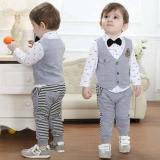 Toko Freeshop Tuxedo Jumper Pakaian Bayi Laki Laki Overallsquare Dasi Kupu Stripe F1018 Grey Freeshop Online