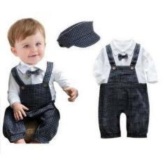 Jual Freeshop Tuxedo Jumper Pakaian Bayi Laki Laki Overallsquare Dasi Kupu Topi F1016 Black Baru