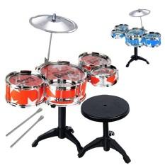 FS BIG SALE Anak Alat Musik Mainan Drum Jazz Set Stik Drum dengan Kursi untuk Anak Laki-laki dan Perempuan Warna Acak Warna: multicolor-Intl