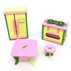 FS Besar Penjualan Creative Simulasi Kayu Furniture 3D Assembly Puzzle Set Bahan Kayu: Dapur