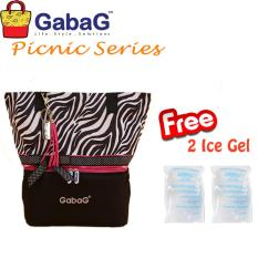 Gabag Cooler Bag Big Picnic Series New Zebra Free 2 Ice Gel Gabag Diskon