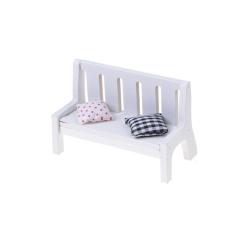 Taman Bench Miniatur Rumah Boneka Furniture 1/12 Skala Kayu dengan Bantal-Internasional