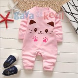 Harga Gaya Si Kecil Romper Jumper Baju Jumpsuit Bayi Cewek Perempuan Baby G*rl Kucing Cat Lucu Lembut Asli