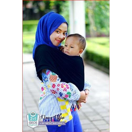 Beli sekarang Geos Gendongan Kaos Bayiku.id 2in1 Instant Baby Wrap - M Navy terbaik murah - Hanya Rp68.325