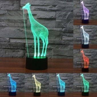 Giraffe Style Pengisian USB 7 Warna Perubahan Warna CreativeVisualStereo Lampu 3D Touch Switch Control LED Light Desk LampNightLight. Ukuran Produk: 25.0X10.2X8.7 Cm-Intl