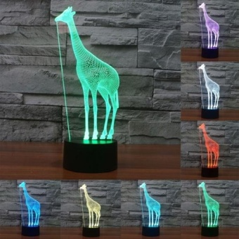 Giraffe Style Pengisian USB 7 Warna Perubahan Warna Kreatif VisualStereo Lampu 3D Touch Switch Control LED Light Lampu Malam Lampu. Ukuran Produk: 25.0X10.2X8.7 Cm-Intl