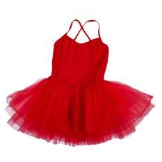 Tari Balet Gadis Baju Senam Triko Tali Rata 5-6 Tahun (Merah)