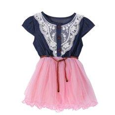 Girls Bayi Cute Putri Renda Gaun Denim Lengan Pendek Tulle Atas Multi Layer Gaun (Merah Muda )-  Intl