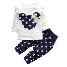 Jual Set Pakaian Anak Cewek Tops T Shirt Legging Celana Biru Laut 110 Cm Import