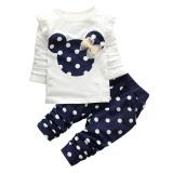 Spesifikasi Set Pakaian Anak Cewek Tops T Shirt Legging Celana Biru Laut 90 Cm Vakind