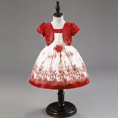 Anak Perempuan Lengan Pendek Roses Fake Dua Sepotong Gaun Putri Baju Pesta Gaun RD/100-Internasional