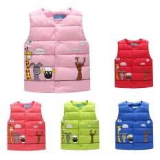 Gadis Vest Kulit untuk Anak-anak Pakaian Bayi Perempuan Padded Rompi Hangat Winter Waistcoat Musim Gugur Anak Gadis Pakaian Kartun Jerapah-Internasional
