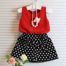 Gadis Vest Gaun Lipit Dua Pieces Set Pakaian Anak Rok Suit-Merah-Intl