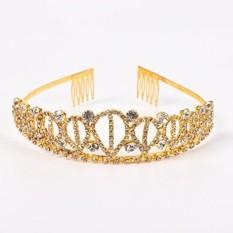 Emas Kostum Putri Mahkota dengan Sisir Sisir untuk Perempuan & Wanita Kristal Pengantin Pernikahan Tiara-Internasional