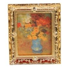 Emas Bingkai Plastik dengan Cetak Bunga Minyak Lukisan Miniatur Furniture-Internasional