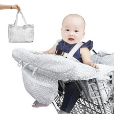 Abu-abu Kursi Tinggi Grocery Trolley Shopping Cart Cover Bayi Balita Safety Harness-Intl