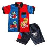 Green Labs Baju Anak Kemeja Stelan Jeans 0901 Biru Ukuran 14 Original