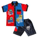 Toko Green Labs Baju Anak Kemeja Stelan Jeans 0901 Merah Ukuran 10 Green Labs