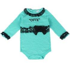 H106 Bayi Perempuan Lucu Jumpsuit dengan Hitam Pintasan Berenda Bayi Lengan Panjang Baju Anak Berenda Singlet Warna Biru Muda